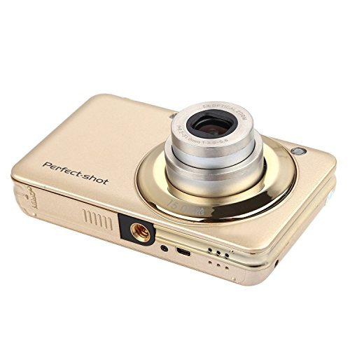 KINGEAR V600 2.7 Inch TFT 15MP 1280 X 720 HD Digital Camera with 8X Optical Zoom and Anti-shake Smile Capture (Gold) by KINGEAR