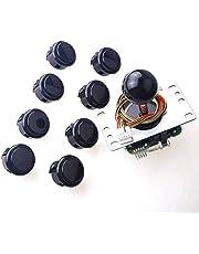 Sanwa JLF-TP-8YT Joystick + Sanwa 8 pcs OBSF-30 Push Button Bundle Kit Color : Black - for Arcade Game 4 & 8 Way Adjustable, Compatible with Catz Mad SF4 Tournament Joystick S@NWA