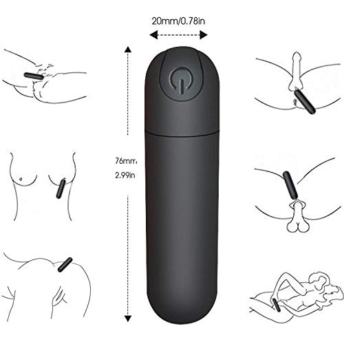 G Spot Bullet Dildo Vibrator Nipple Clitoris Stimulator USB Rechargeable for Travel - 10 Modes Portable Waterproof Mini Orgasm Vaginal Anal Massager Adult Sex Toys for Women(Black)