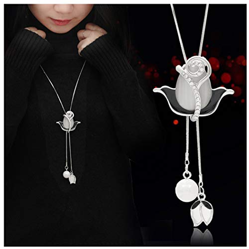 Women Crystal Rose Pendant Necklace Fashion Faux Pearl Long Statement Necklace Sweater Chain Jewelry for Girls