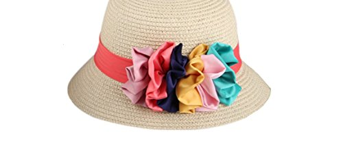 The Red Band 6 Color Silk Flowers Baby Girl Straw Hat