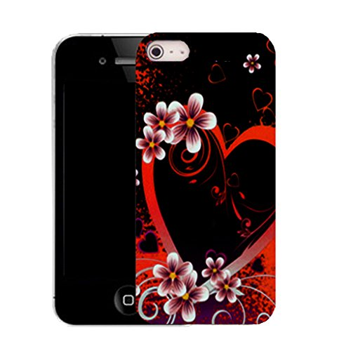 Mobile Case Mate IPhone 5S clip on Silicone Coque couverture case cover Pare-chocs + STYLET - red alluring heart pattern (SILICON)