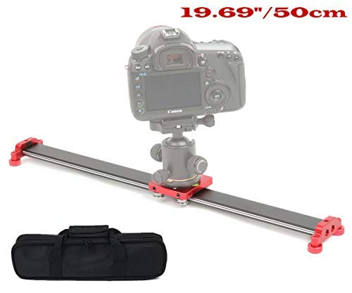 Sutefoto 19.6'/50cm Portable Camera Slider Rail Track with 4 Bearing for Video Movie Photography DSL Nikon Canon Pentax Sony Cameras, Phone, Action Camera-Max Support 8kg/17.63 lbs Loading