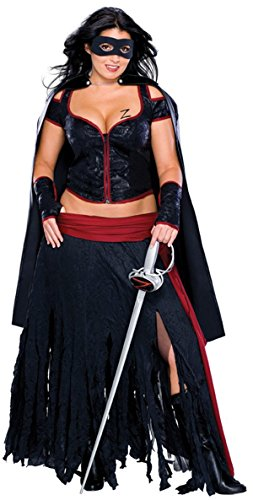 Secret Wishes Full Figure Lady Zorro Costume, Black -
