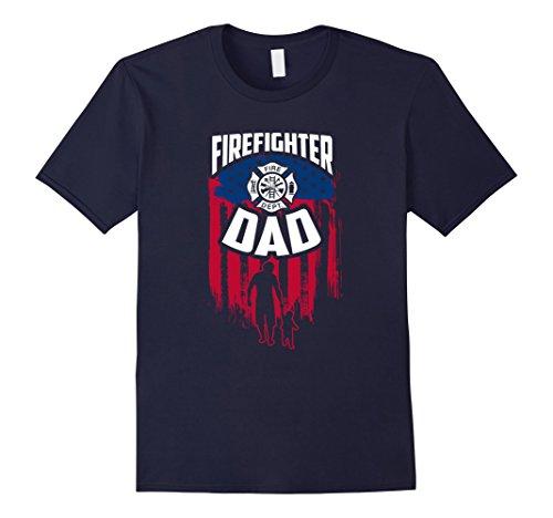 (Mens Firefighter DAD - The Fireman T-Shirt  XL Navy)