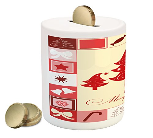 Ambesonne Christmas Piggy Bank, Merry Christmas Quote with F