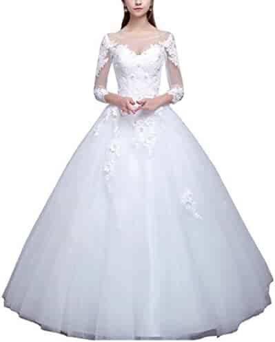 0f71b9d2665 Dexinyuan Lace 3 4 Long Sleeve Bridal Gown Scoop Neck Floor Length Ball Gown  Wedding