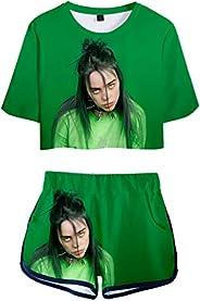 bettydom Girl's Novelty Billie Eilish Sports T-Shirt with Shorts Summer 3D Print Clothing