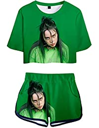 bettydom Girl's Novelty Billie Eilish Sports T-Shirt with Shorts Summer 3D Print Clothing Set