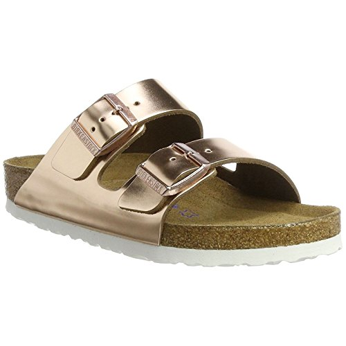 Birkenstock Women's Arizona Soft Footbed Sandal Metallic Copper Leather Size 37 M EU