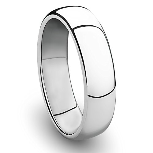 6MM Titanium Platinum-Plated Ring Classic Wedding Band with Polished Finish [Size 8.5]