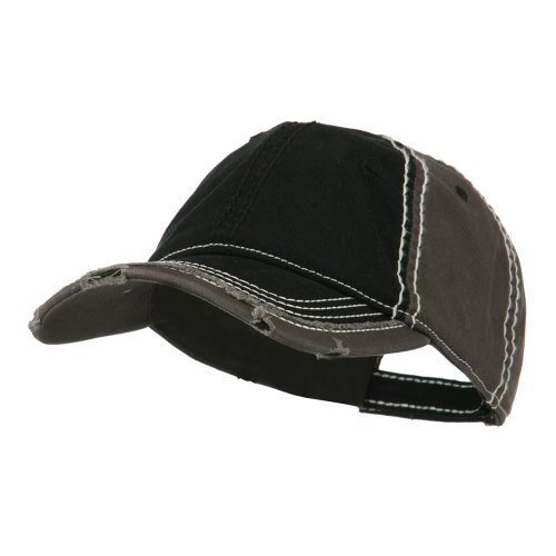 Otto Caps Vintage Washed Cotton Twill Frayed Bill Cap - Black Charcoal OSFM ()