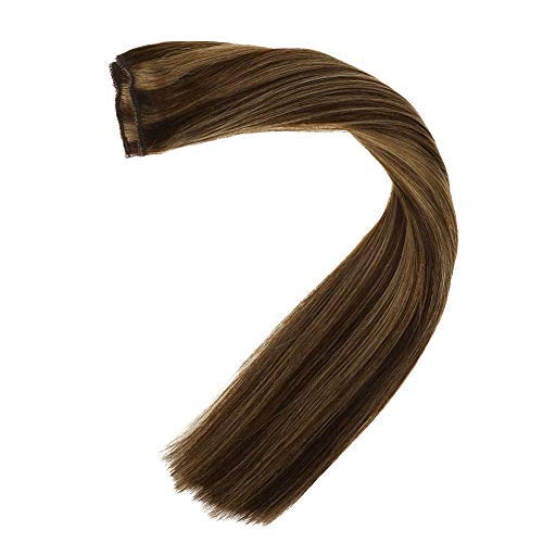 LaaVoo 12quot Hairpieces Flip on Human Hair Extensions Color Piano Highlight Dark Brown and Color Caramel Blonde Hidden Halo Hair Extensions 80g 11inch Width #P4/27