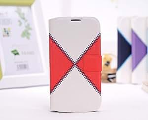 PU cuero Flip Folio protectora caso cubrir cartera con ranura para tarjetas para Samsung Galaxy S4 i9500-rojo / blanco