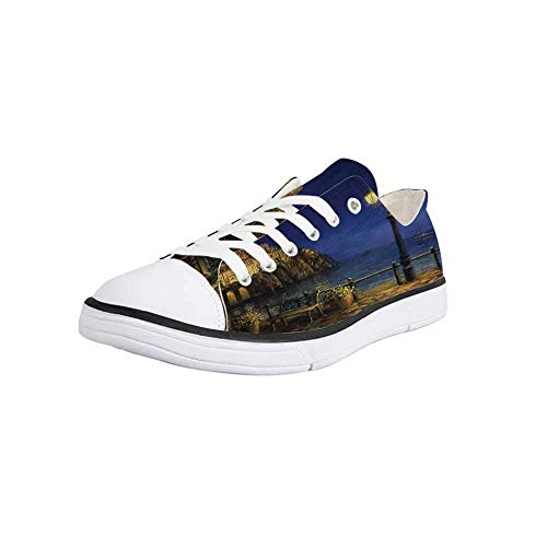 - Canvas Sneaker Low Top Shoes,Italy,Starry and Romantic Evening at The Coast of Amalfi in Italy Oil Painting Style Women 7
