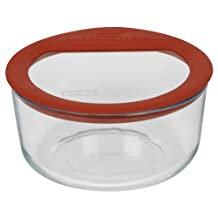 Pyrex No Leak Glass Storage Container with Lid, 4-Cup, Round