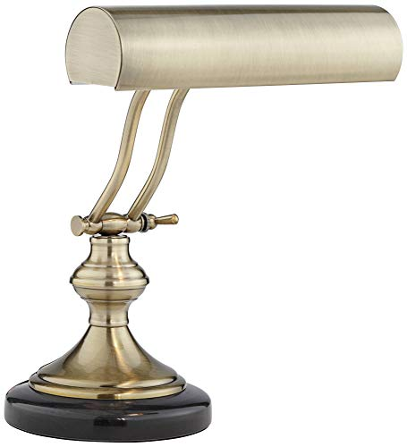 - Traditional Piano Banker Desk Lamp LED Adjustable Black Marble Base Antique Brass Shade for Office Table - Regency Hill
