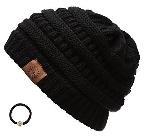 Women's Winter Warm Variety Colors Cable Knit Slouchy Skull Beanie Cap Hat with Hair Tie (Black)