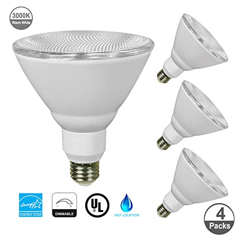 JULLISON 4 Packs PAR38 LED Bulb, 120V/13W/980Lumens/40 Degrees Beam, 90W Equivalent, 3000K Warm White, CRI80+, dimmable, True Look, Outdoor Flood, E26 Base, UL & Energy Star & FCC Listed, Wet Location