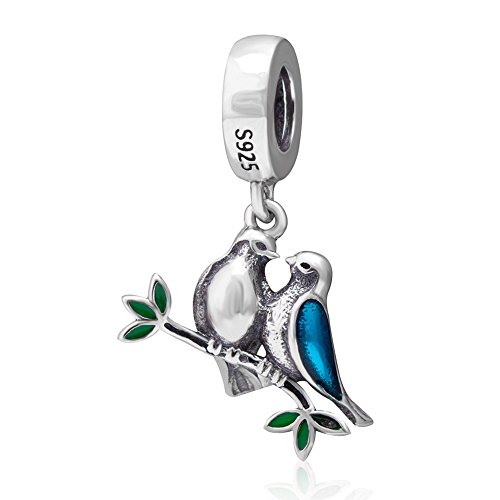 Love Birds Charm 925 Sterling Silver Animal Charm Husband Wife Couple Charm for Bracelets - Pandora Lovebird Charm
