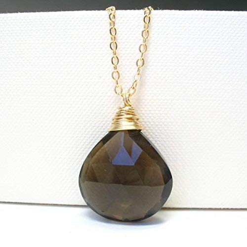 (Large Faceted Smoky Quartz Long Necklace 14K Gold Filled 29 Inches)