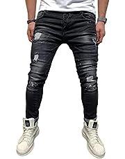 Gescheurd Jeans Heren - BEIGE Skinny Slim Fit Stretch Vernietigde knie Verontruste Jeans Spijkerbroek Designer Broken Holes Hip Hop Rits Broek Jeans Zwart M-3XL