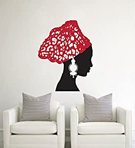 fashionable african woman vintage earrings scarf art wall vinyl decal sticker mural wallpaper home decoration 60x75cm christmas by yimeiarthome - Stickers Muraux Design Decoration