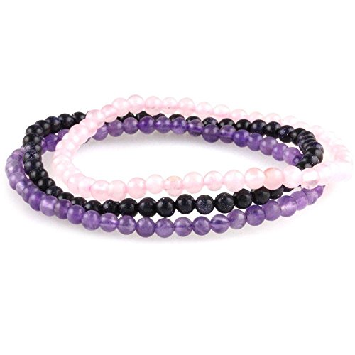 Trio: Amethyst, Rose Quartz & Simulated Blue Goldstone (Amethyst Power Bracelet)