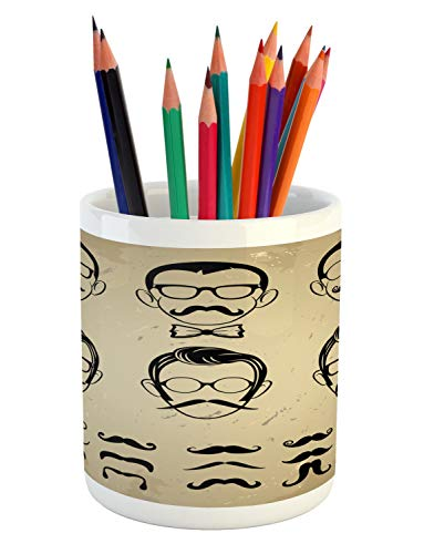 Ambesonne Geek Pencil Pen Holder, Male Face Silhouettes Showing Types of Moustaches and Haircuts Image, Printed Ceramic Pencil Pen Holder for Desk Office Accessory, Eggshell Beige and Black (Different Types Of Haircuts For Black Males)