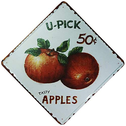 TISOSO Fresh Fruit Tasty Apples 5 Cents Vintage Kitchen Signs Country Farm Decor Tin Wall Art Home Decor 12 X 12Inch