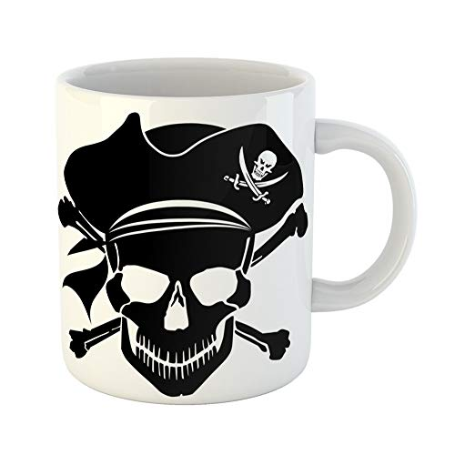 Emvency Coffee Tea Mug Gift 11 Ounces Funny Ceramic Ship Pirate Skull Captain Hat and Cross Bones Clipart Silhouette Gifts For Family Friends Coworkers Boss Mug ()