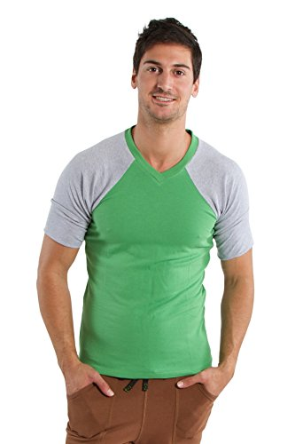4-rth Raglan Virtual Crew Neck (M, Bamboo Green w/Grey) (Bamboo Raglan)