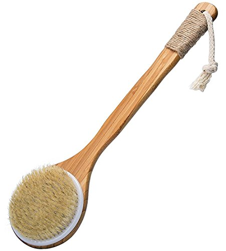 MIGAGA Bath Dry Body Brush-Natural Bristles Back Scrubber With Long Wooden Handle for Cellulite & Exfoliating -