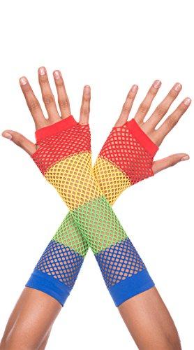 Diamond Net Fingerless Gloves, Rainbow Fingerless Gloves - Rainbow Net Fingerless Gloves