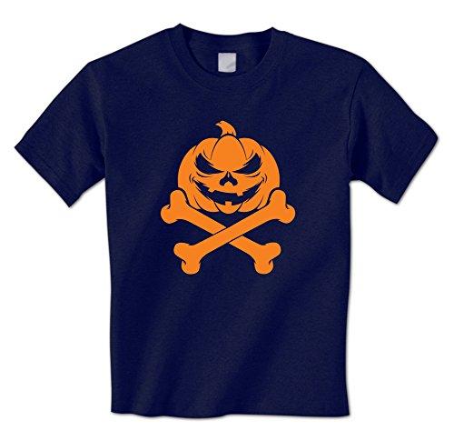 Jack O Lantern Skull and Crossbones Pumpkin -Happy Halloween Mens T-Shirt (XXL -
