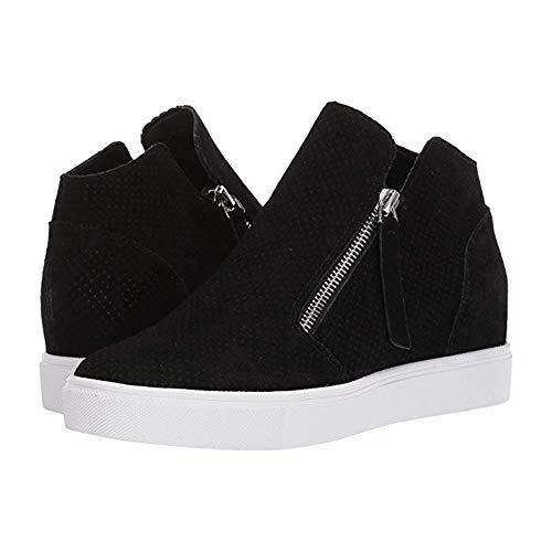 (Liyuandian Hidden Wedge High Top Sneaker Side Zipper Platform Loafers Faux Leather Ankle Booties Black)
