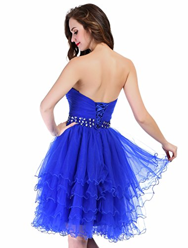 Fashion Plaza Mini Princesse Bretelles Court Rob de Bal Cocktail D0235 (EU34, Bleu)
