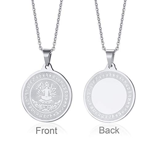- Jakob Miller Quan Im Bless for Success Happy Amulet Lucky Pendant Stainless Steel Guan Yin Godness of Mercy Pendant Necklace
