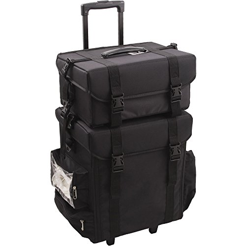 (Sunrise T5271 2-in-1 Soft Sided Professional Rolling Trolley Makeup Artist Cosmetic Case, Black Nylon)
