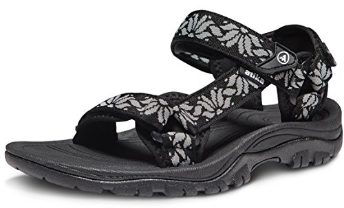 ATIKA Women's Maya Trail Outdoor Water Shoes Sport Sandals, Maya(w111) - Black & Grey, 9