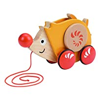 Hape Walk-A-Long Hedgehog Toddler Wooden Pull and Balance Toy