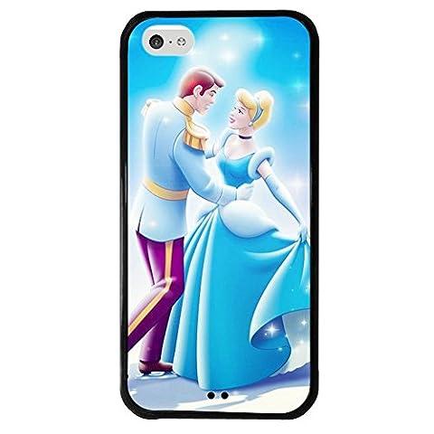 iPhone 5c case, Onelee Disney Princess Cinderella Tire tread pattern TPU Rubber Black iPhone 5c Case Neverfade Scratchproof (Disney Cell Phone Cases Iphone 5c)