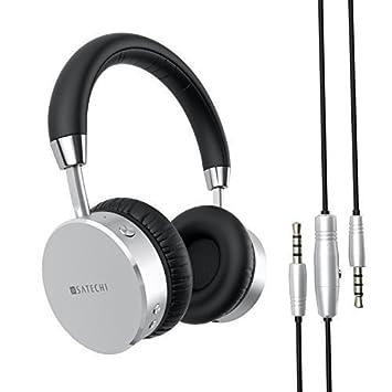 SATECHI Auriculares Inalámbricos Bluetooth de Aluminio con Bajos Mejorados Jack de Salida de Audio de 3.5