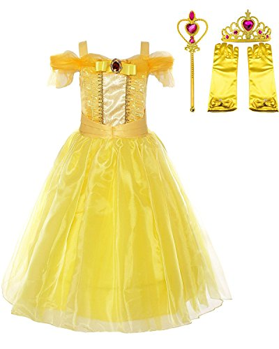 Yanekop Girls Yellow Princess Belle Dress Up Set Beauty and The Beast Costume (Style 2,130cm) ()