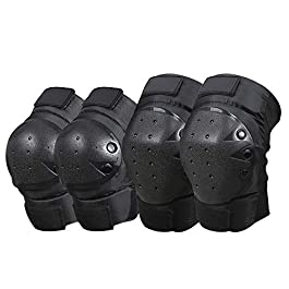 1 Pair Cycling Knee Brace and Elbow Guards Bicycle MTB Bike Motorcycle Riding Knee Support Protective Pads Guards…
