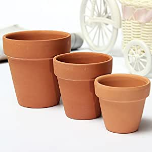 Red Ceramics Terracotta Flower Pot Clay For Small Plants Clay Planter (Random: Size)