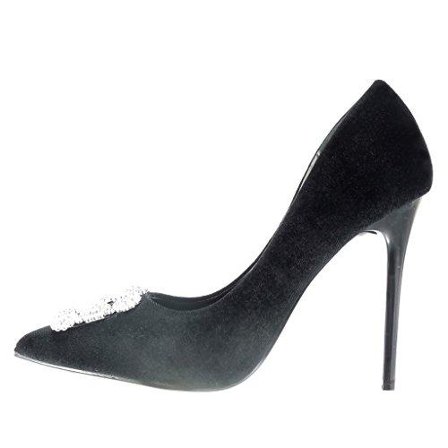 Angkorly - damen Schuhe Pumpe - Stiletto - Sexy - Strass - Schmuck Stiletto high heel 11 CM - Schwarz
