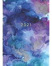 2021: Agenda Semainier A5   Planificateur Hebdomadaire Et Mensuel   1 Semaine Sur 2 Pages   Weekly Planner Scolaire Journalier   Organiseur Calendrier 12 Mois   Aquarelle