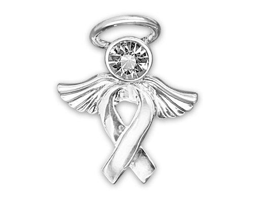 Silver Ribbon Awareness Pin in a Gift Box - Angel Tac (1 Pin - Retail)