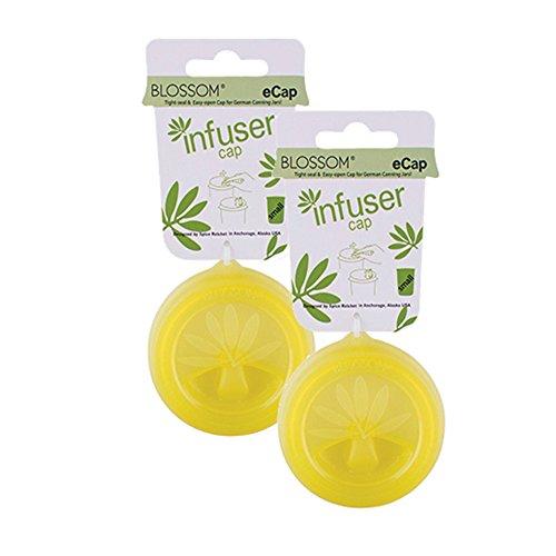Blossom 16844/2 eCap Infuser Lid, Silicone, Fits Standard Weck Canning Jars, Olive Green, Set of 2, ()